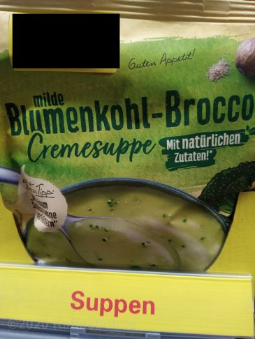 Tüte Blumenkohl-Brokkoli-Suppe